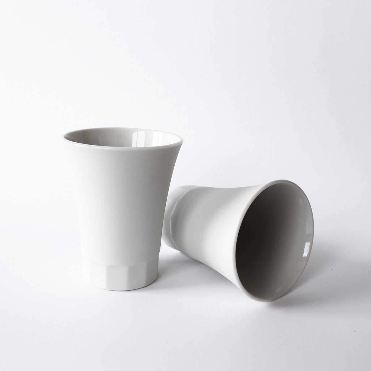 POSITANO collection water, wine porcelain cups, white
